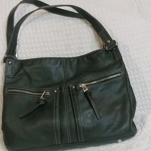 Tignanello Dark Mocha Brown Leather Shoulder Bag